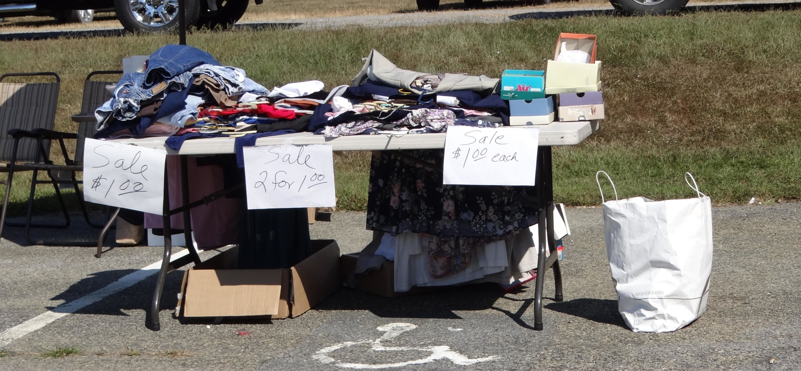 table at a yard sale